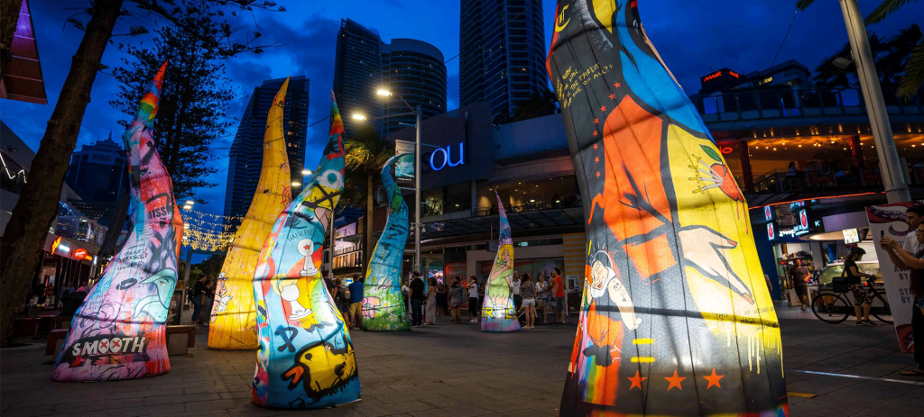 Colourful tentacles Art Installation lit up with LED lights - Beyond the Sand