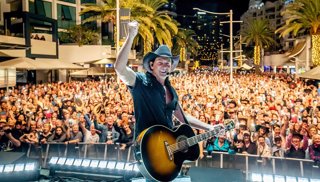 Performer Lee Kernaghan on stage at Groundwater Country Music Festival