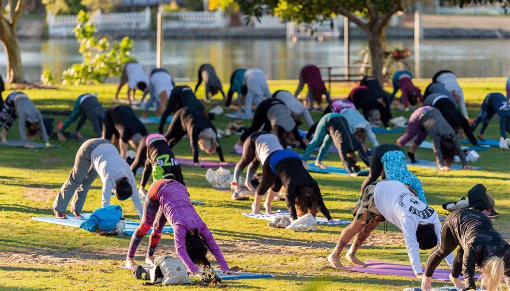 Yoga event in parklands