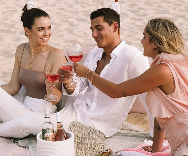 Friends clinking glasses of rosé at Rosé Coast Gold Coast