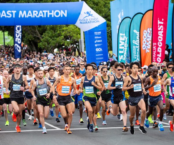 Starting line at Village Roadshow Theme Parks Gold Coast Marathon
